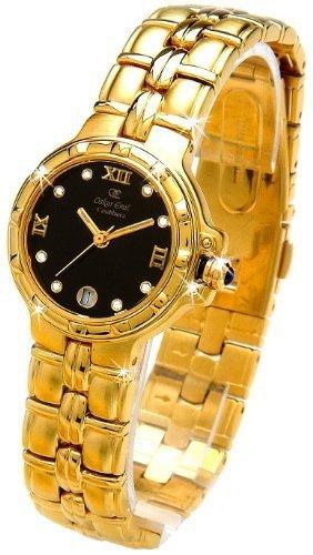 Oskar Emil Casablanca 300L – Reloj Diamante Oro Mujeres, Con Esfera Negra