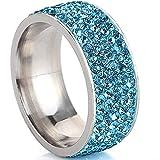 WGY Anillos De Color Dorado Azul Cristalino para Mujeres Anillos De Regalo De Joyería De Anillo De Diamantes De Imitación De Acero Inoxidable