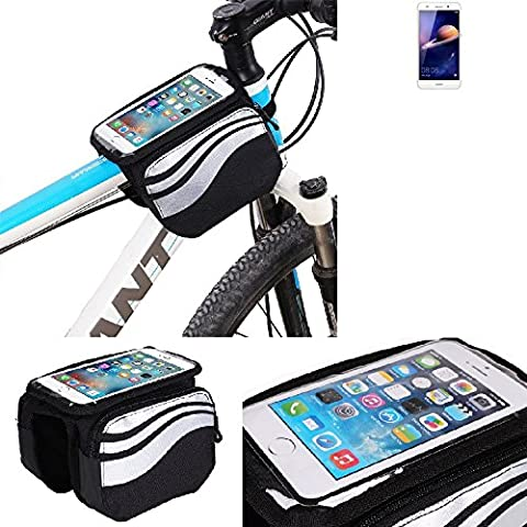 For Huawei Y6 II: Cycling Frame Bag, Head Tube Bag, Front Top Tube Frame Pannier Double Bag Pouch Holder Crossbar Bag, black-silver water resistant -