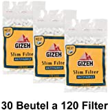 30bolsas Slim Filtro de carbón Giza Delgado de 6mm (30x 120) Filtro de carbón