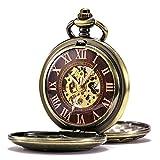 TREEWETO taschenuhr mit kette herren bronze retro dampflokomotive römische ziffern holz maserung zifferblatt design taschenuhren mechanisch pocket watch