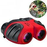 OPO binoculares para niños, binoculares impermeables 8X21 para mirar al aire libre regalos para niños de 3-12 años regalos para niñas adolescentes juguete para niños rojo OPOWYJ04