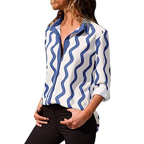 Lucky Mall Frauen Gestreiftes Langarm-Shirt, Drehen Sie unten Kragen Button Shirt -