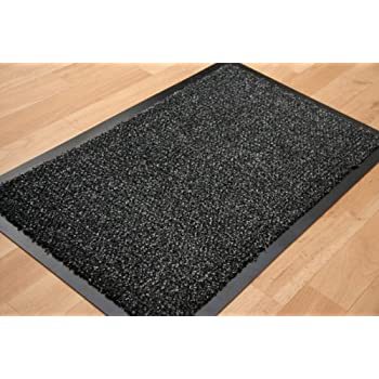 New Hardwearing Rubber Backed Grey Black Barrier Mat Rug