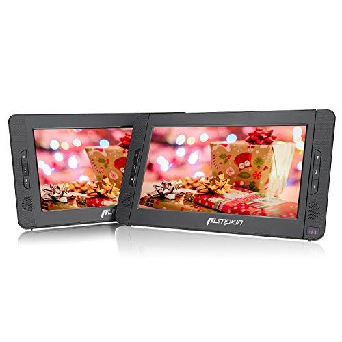 Pumpkin Double Ecrans d'Appui tête 10,1 Pouce Résolution 1024 * 600 HD Batterie Rechargeable 2700MAH avec Etui de Montage dans Voiture (Un Lecteur DVD et Un Moniteur)