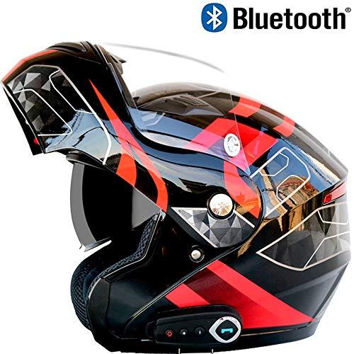 SJAPEX Modulables Casques avec Écouteur Bluetooth, Léger Casque Intégraux de Moto Détachable Full-Face Helmet avec Double Visière, pour Cruiser Scooter Motocross, Dot Certified