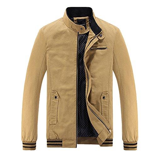 Herrenmantel Stand Kragen Mantel Einfarbig Lange Ärmel Freizeit Jacke Gelb