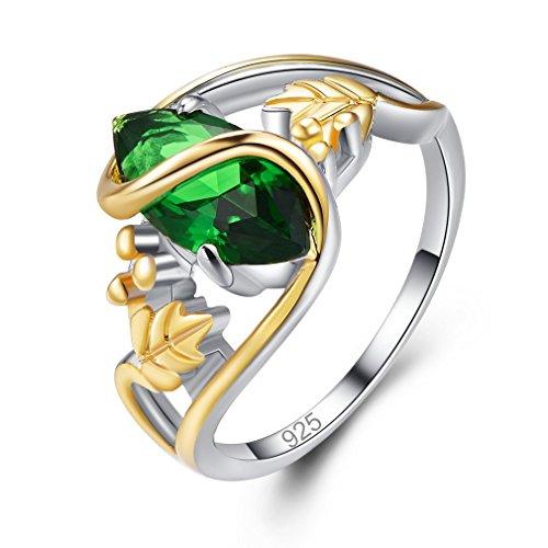 Yazilind grün ovale Zirkonia Ringe eingelegten goldenen Blatt platiniert für Damen Größe 18.8 (Granat Grüner Ring)