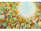 KunstLoft Acryl Gemälde 'Light from Above' 120x80cm | original handgemalte Leinwand Bilder XXL | Abstrakte braune Skyline auf Blau Braun | Wandbild Acrylbild Moderne Kunst einteilig mit Rahmen