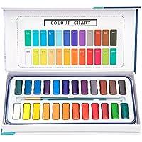 Krevo Aquarellfarben Set – 24 Lebendige Farben Inklusive 1 Pinsel und 8 Aquarellpapier – geeignet für Anfänger und Profis