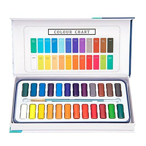 Aquarellfarben set – 24 lebendige Farben inklusive 1 Pinsel und 8 Aquarellpapier – geeignet für...