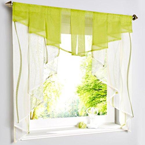 Hongya disco coulisse tende in voile tenda corta per piccola finestra trasparente, tessuto, crema/verde, h/b: 145/140 cm