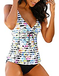 Traje de Baño Mujer 2020 SHOBDW Sexy Conjunto de Bikini Push Up Playa Bohemia Raya Shorts Tanga Mujer Escote En V Bañadores de Mujer Dos Piezas Tankinis Mujer Tallas Grandes S-5XL