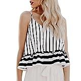 Hmeng Mode Frauen Gestreift Rüschen V-Ausschnitt Crop Top Schulter Weste Camis Ärmelloses Shirt Bluse (Weiß, XL)
