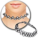 Schwarzes Kropfband elastisch dehnbar Halskette Henna Tattoo Effekt Halsband Halskette mit weiß Perlen und verstecktem invisivble Schließe