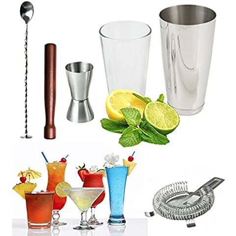 Vivo© Set Boston-Shaker per cocktail in vetro, cucchiaio da Bar