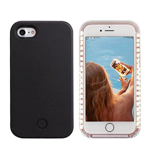 iPhone 8 LED Coque - Avkkey iPhone 8 Selfie Light iPhone Coque Idéal pour prises de Selfie et FaceTime lumineux Light Up Coque pour iPhone 7 4.7'' - Noir