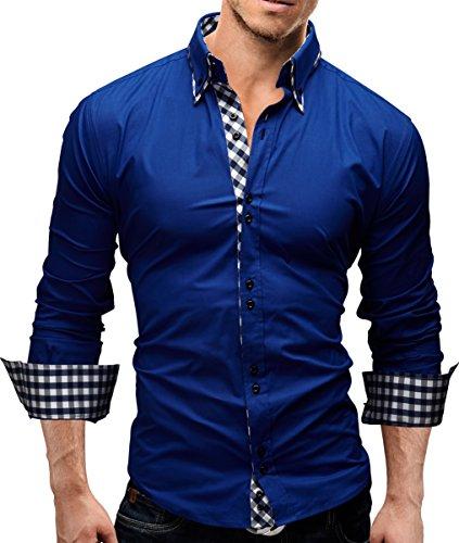 MERISH Herren Business Hemd Slim Fit Button Down Karierte Kontraste Modell 37 NewBlue