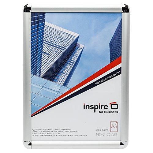 edgea3s Rand Aluminium Satin Finish A3(30x 42cm) Snap Rahmen öffnen und Shut Poster Zertifikat Display Bild Rahmen mit glatte Statische Ecken Snap Rand