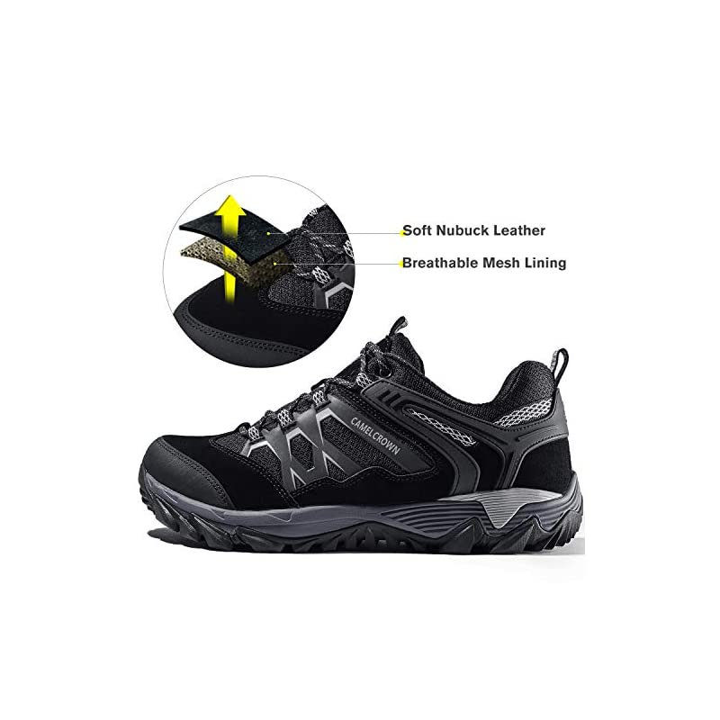 CAMEL CROWN Walking Shoes Men Lightweight Hiking Shoes Low Top Work Safety Shoes Slip On Trainers for Climbing Trekking…