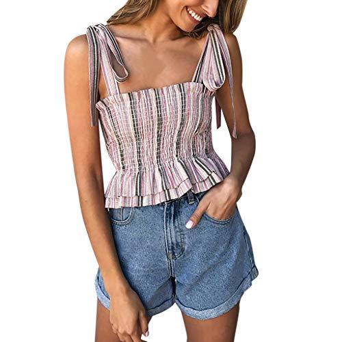 Damen gestreiftes Tops mit gerüschtem Riemen, schlankes T-Shirt mit Knoten vorne, mit Knoten - Foil Print Leggings