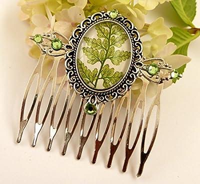 Peigne à cheveux noble en argent vert avec beau motif de fougère