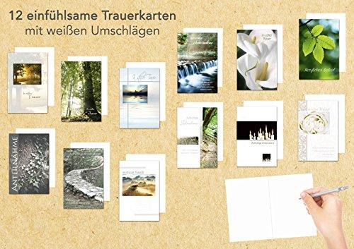 Edition Seidel Set 12 einfühlsame Trauerkarten/Beileidskarten mit Umschlag. Trauerkarte Beileidskarte mit Spruch schreiben (Doppelkarten/Klappkarten mit