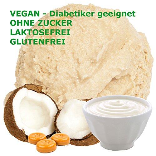 Joghurt Toffee Kokos Geschmack Eispulver VEGAN - OHNE ZUCKER - LAKTOSEFREI - GLUTENFREI - FETTARM, auch für Diabetiker Milcheis Softeispulver Speiseeispulver Gino Gelati (Joghurt Toffee Kokos, 1 kg) (Kokosmilch Joghurt)