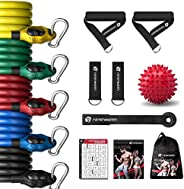 Ninthealth Bandas de Resistencia, Bandas Elasticas Musculacion 150 lbs, 5 Tubos de Látex, con Asas, Correas de