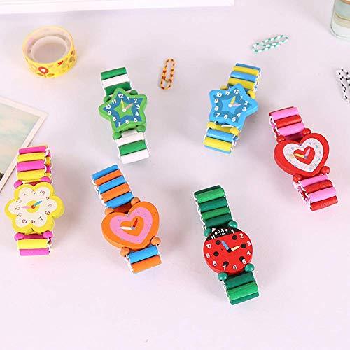 Vap26 Reloj Reloj Pulsera Dibujos Estudiante para Bebé Infantil Artículos de Papelería Pulsera Madera...