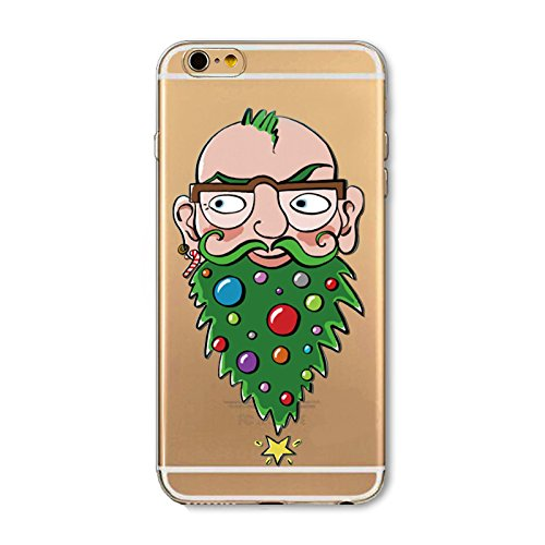 Christmas Hülle iPhone 7 Plus / iPhone 8 Plus LifeePro Weihnachts Cover Ultra dünn Weiches Transparent TPU Gel Silikon Handy Tasche Bumper Case Anti-Scratch Back Cover Full Body Schutzhülle für iPhone Beautifully-bearded Gentleman
