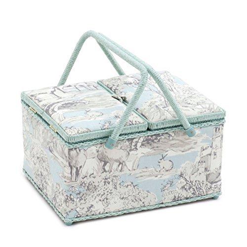 Boîte à couture rectangulaire à double battant Hobby Gift « Manor Toile » 24 x 31,5 x 19,5 cm (profondeur/largeur/hauteur)