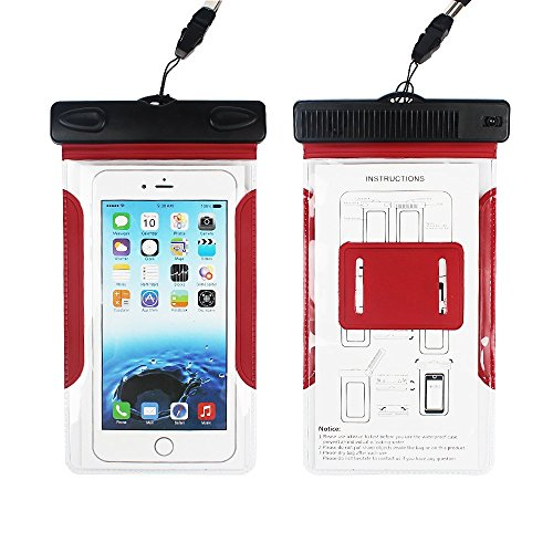 Ipod Nano-screen Protector Armband (IPX8 wasserdichte Dry Bag, ich. valux Dry Bag Tasche mit Armband und Kamm für iPhone SE, 6S, 6S Plus, 6, 6 Plus, 5S, 5, 4S, 4, Samsung Galaxy S7, S6, S6 Edge, S5, S4, Note 4, 3, 2, iPod Touch (rot))