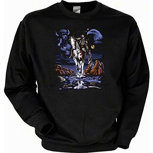 Sweatshirt, Sweater mit Bündchen, Farbe: Schwarz, Motiv: Indianischer Krieger