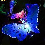 Solarbetrieben Wasserdicht Schmetterling Lichterkette RGB - ELINKUME 3,65M/12ft 12er LED Schmetterling String Licht Innen und Außen Dekorative Beleuchtung für Balkon, Terrasse, Hof, Feiern, Party