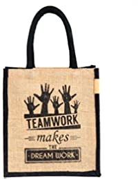 H&B Jute Bags for Lunch for Men | Jute Bags with Zip | Jute Tote Bag | Jute Tiffin Bags | Printed Jute Bag | Jute Carry Bag | Jute Bag Medium Size - (Print: Teamwork, Black, Size: 11x9x6 Inch)