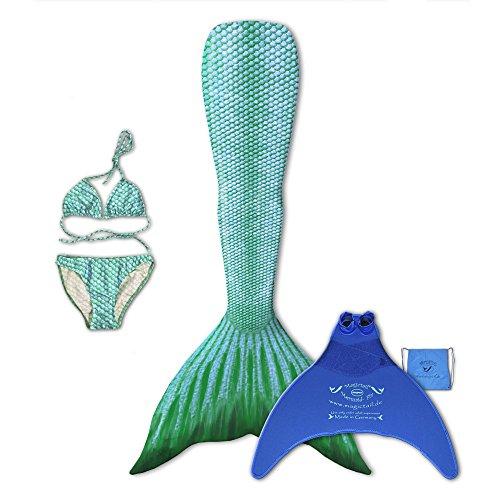 magictail Original Meerjungfrauenflossen zum Schwimmen für Kinder und Erwachsene mit Kostüm, Bikini, Flosse und Tasche Arielle M