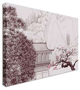 Grande abstrait japonais Peinture cour sur toile murale Art photos 101,6x 76,2cm