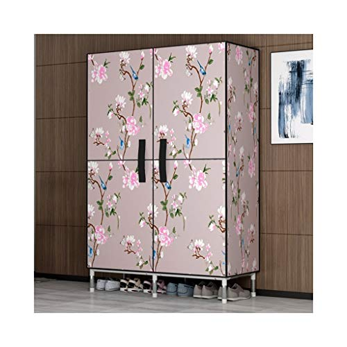 ZBYG-Falt- & Stoffschränke Tragbare Garderobe, Schrankkleidungs-Aufbewahrungslösung mit Kleiderstange/Aufbewahrungsregalen 85x45x172cm (Color : A)