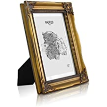 Marco de foto 13x18 cm - Marco Barroco - Frente de VIDRIO - Paspartú para foto 10x15 cm incluido - Ancho del marco 2,5 cm - Stylo Rococo Shabby Chic - Oro antiguo