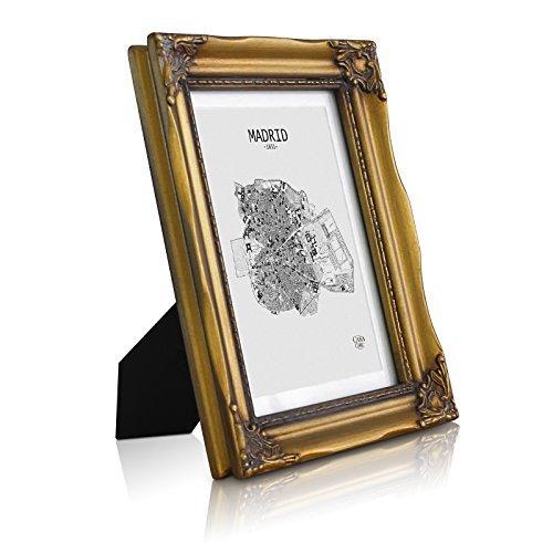 Antik Bilderrahmen 13x18 cm - Glasfront - mit Passepartout für 10x15 Fotos - 2,5 cm Rahmenbreite - Rokoko Baroque Style - Antik Gold (Gold-bilderrahmen 10 X 13)