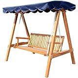 homcom Oursunny - Dondolo con baldacchino 3 posti altalena da giardino panchina swing in legno