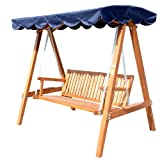 Outsunny® Hollywoodschaukel mit Sonnendach 3-Sitzer Gartenschaukel Schaukelbank Schaukel aus Holz
