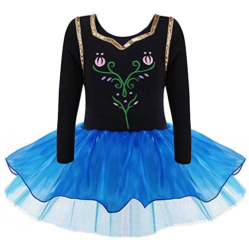 HUANQIUE Mädchen Ballettkeid Kinder Ballettanzug Turnanzug Prinzessin Tanz Kleid mit Tüll Rock Black XXL