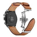 AISPORTS Bracelet de Rechange pour Montre Samsung Galaxy 46 mm en Cuir 22 mm en Acier Inoxydable avec Boucle Papillon pour Huawei Watch GT/Honor Watch Magic/Samsung Gear S3 Frontier/Classic Marron
