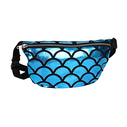 TININNA Frauen Schulter tasche Fisch Skala Muster Taille Tasche Multifunktionale Sequins Kosmetik Gürteltasche Cross-Body Schultertasche Sport Taille Tasche Blau