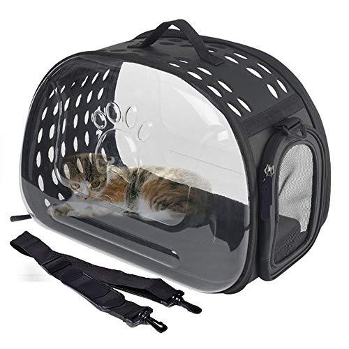 WEAO Transparente Raumtasche Pet Bag Tragbare Reise Pet Carrier Rucksack wasserdichte Handtasche Für Katzen Und Kleine Hunde Belüftetes Design, Schwarz -