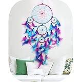 Dream Catcher bunt handgefertigt Regenbogen groß blau pink und violett Feder Traumfänger Ornament