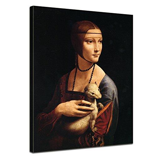 Bilderdepot24 Tela di Canapa Leonardo da Vinci - Antichi Maestri La Dama con l'ermellino 40x50cm - Completamente incorniciato, Direttamente dal Produttore