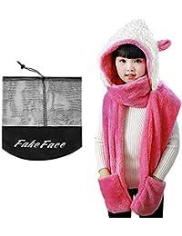 7c5de6f1c Kids Girls Cartoon Scarves Hat Gloves 3-in-1 Set Winter Super Soft Plush